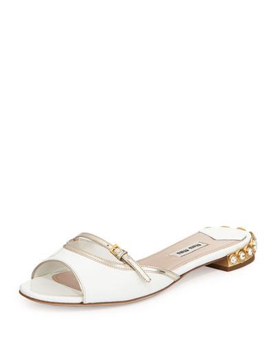 Patent Leather Jeweled-Heel Slides, Bianco/Pirite