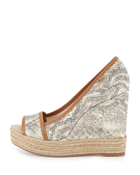 Majorca Snake-Print Wedge, Natural