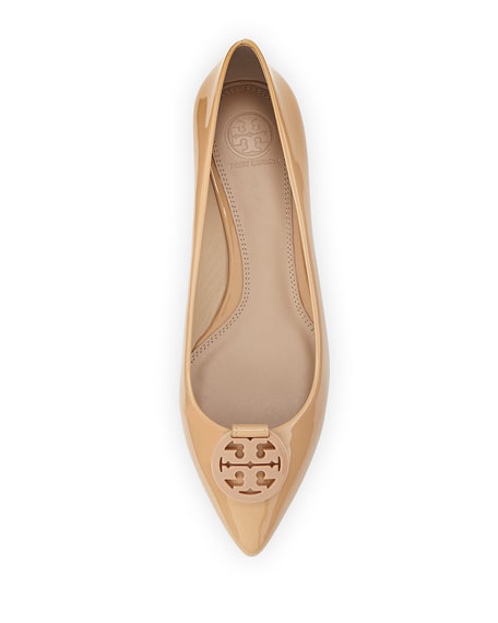 f1a570a45fb Tory Burch Patent Leather Pointy-Toe Logo Flat