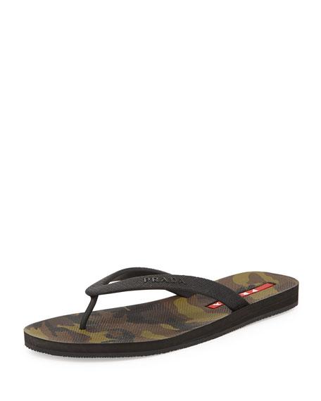 Prada Linea Rossa Camouflage Bottom Thong Sandal, Mementico