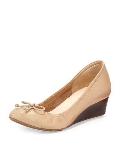 Air Tali Leather Wedge Pump, Sandstone