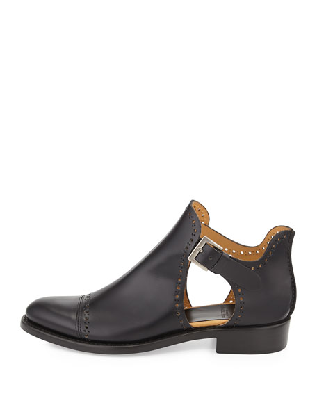 Leather Cutout Desert Boot, Raven