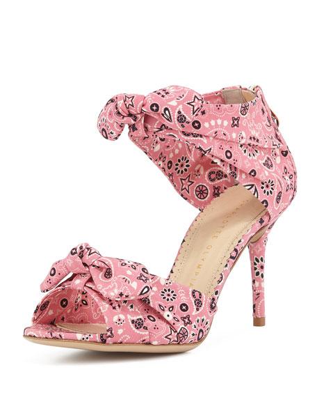 Charlotte Olympia Knotted Strap Bandana Sandal, Pink