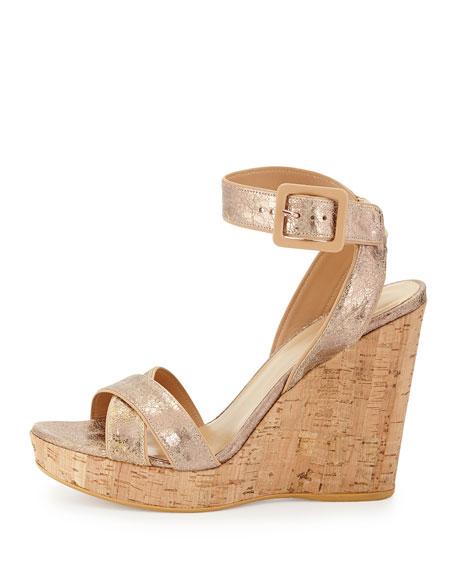 Annex Metallic Wedge Sandal, Penny