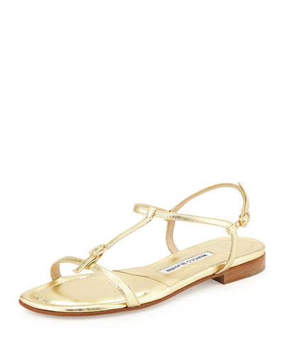 Olon Metallic T-Strap Sandal, Platino Gold