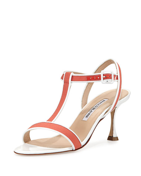 Manolo Blahnik Dador Linen T-Strap Sandal, Coral