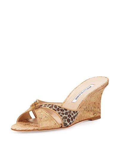Tailobo Embossed Cork Sandal, Natural
