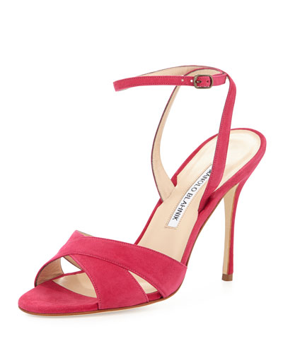Orlana Suede High-Heel Ankle-Wrap Sandal