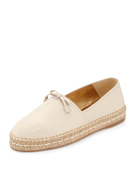 Leather Cap-Toe Flat Espadrille, Travertino