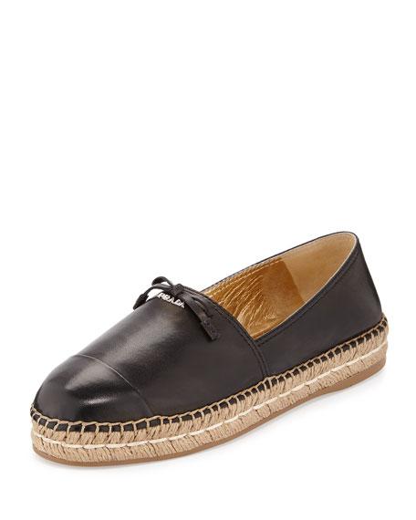 Prada Leather Cap-Toe Flat Espadrille, Black (Nero)