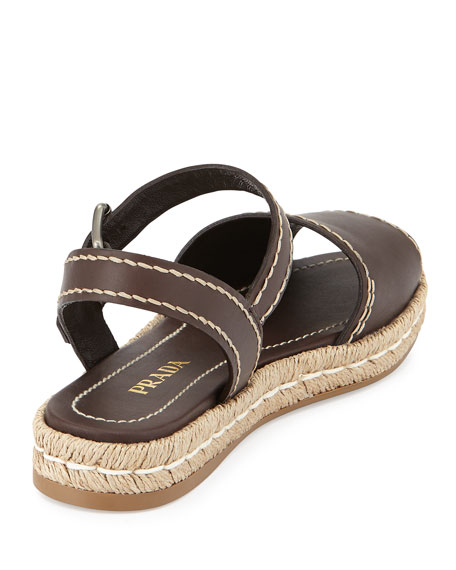 Leather Espadrille Sandal, Cocco