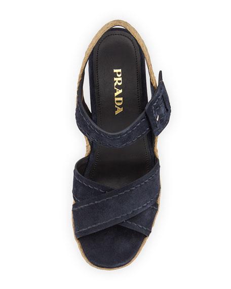 Suede Platform Wedge Sandal, Blue