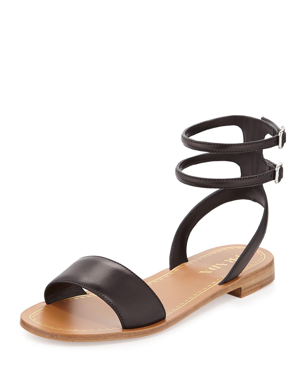 93a1a7df119 Prada Double Ankle-Wrap Flat Sandal