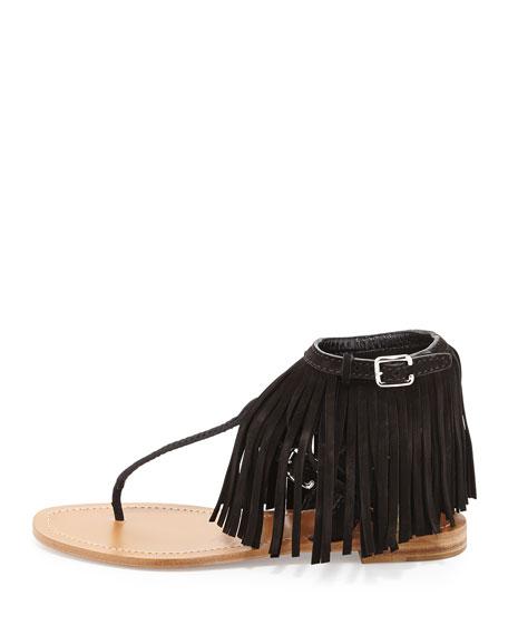 Sandals - Fringed Suede Sandals Nero - black - Sandals for ladies Prada 4okwQ