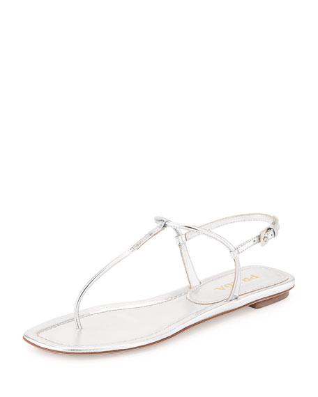 Prada Metallic Thong Sandal, Argento