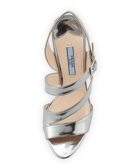 Asymmetric Metallic Leather Sandal, Cromo