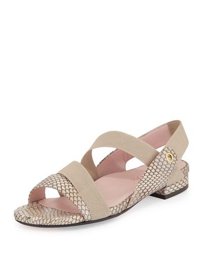 Iyana Novelty Snake-Embossed Leather Sandal, Cream