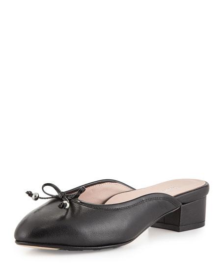 Taryn Rose Faigel Low-Heel Leather Mule, Black