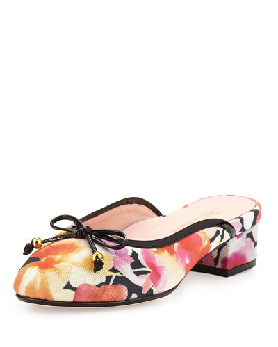 Faigel Low-Heel Mule, Fuchsia/Multi