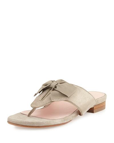 Izze Metallic Bow Thong Sandal, Taupe