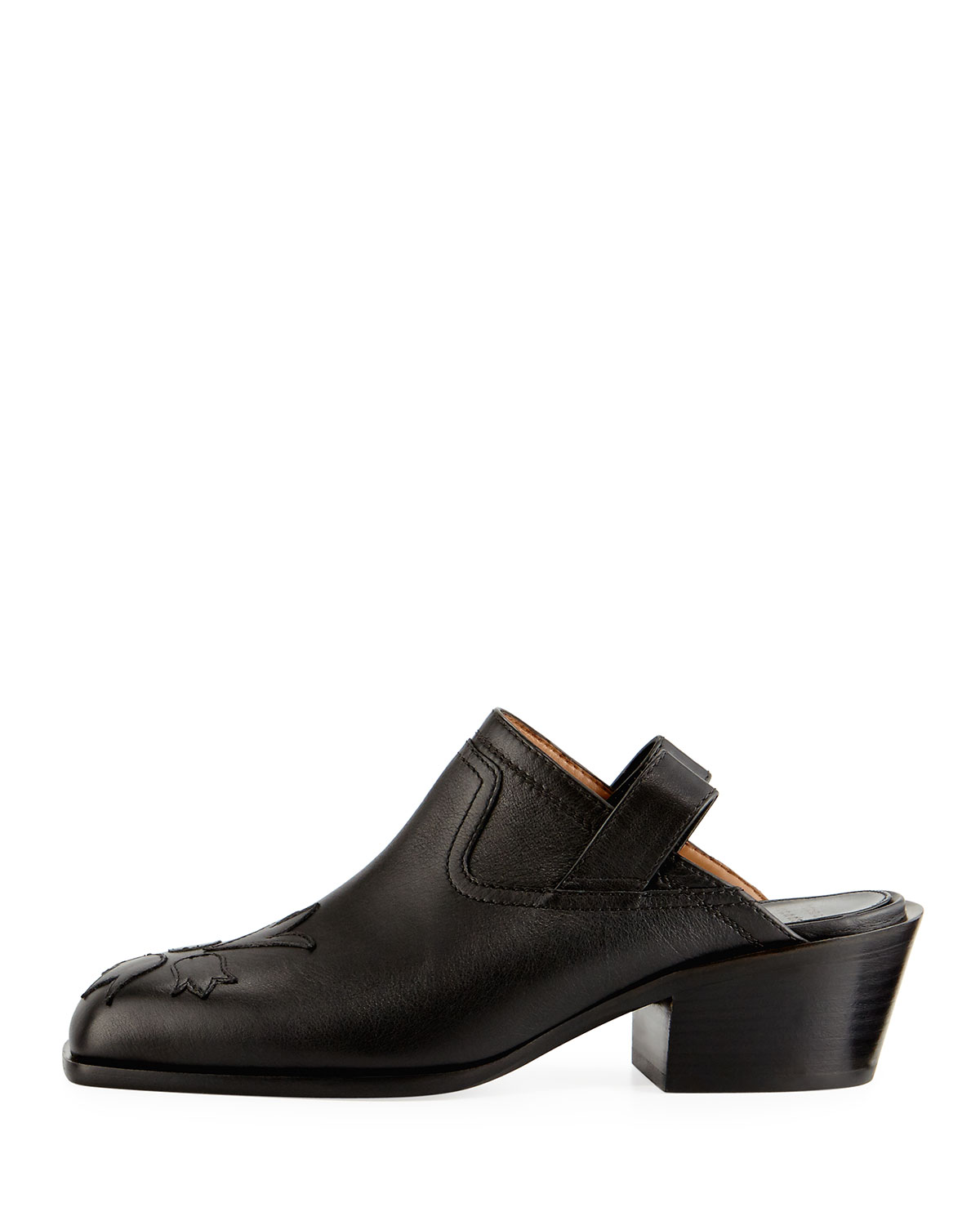Laurence Dacade Nature Stitched Leather Pull-On Mule, Black