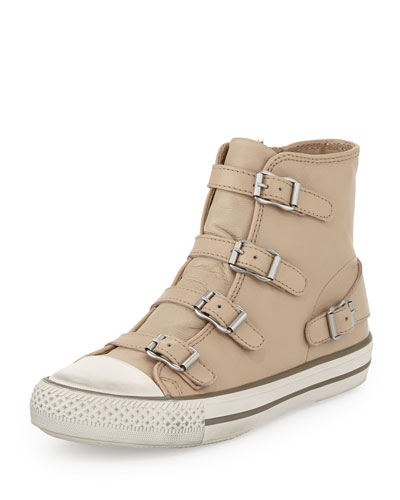 Virgin Buckled High-Top Sneaker, Beige