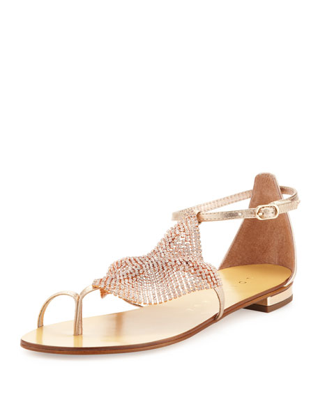Lola Cruz Crystal Mesh Toe-Ring Sandal, Rust