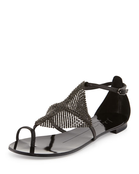 Rhinestone Strappy Leather Sandal, Black