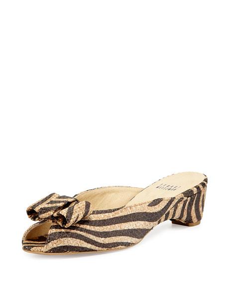 Stuart Weitzman Candy Zebra-Print Woven Bow Slide Sandal