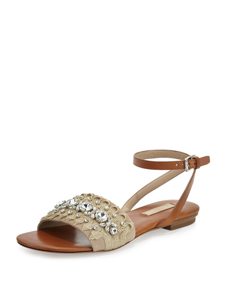 Michael Kors Collection Hadden Embellished Flat Sandal
