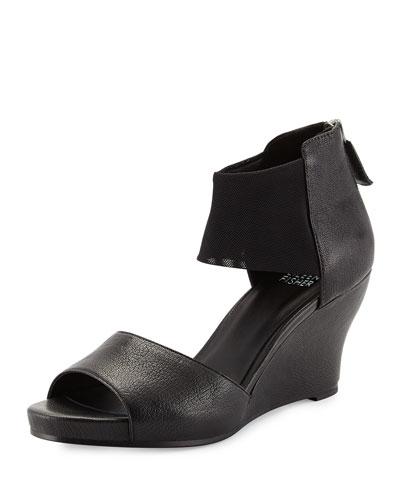 Corona Mid-Wedge Ankle-Cuff Sandal, Black