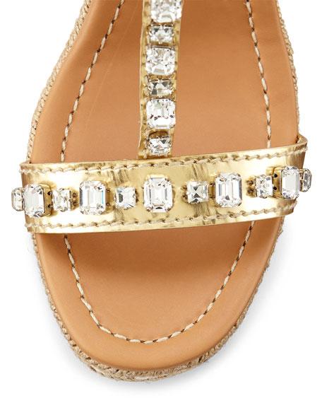 Jeweled T-Strap Rope Wedge Espadrille, Platinum