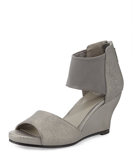 Corona Mid-Wedge Ankle-Cuff Sandal, Pewter