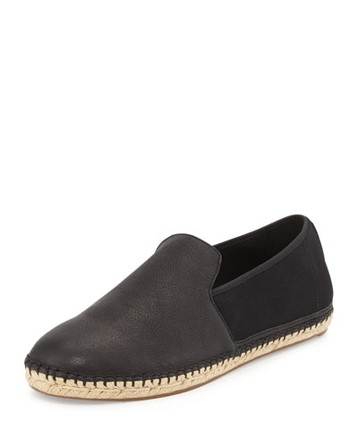Flit Flat Leather Espadrille Flat, Black