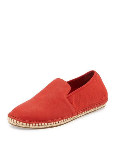 Flit Stretch-Back Leather Espadrille, Red