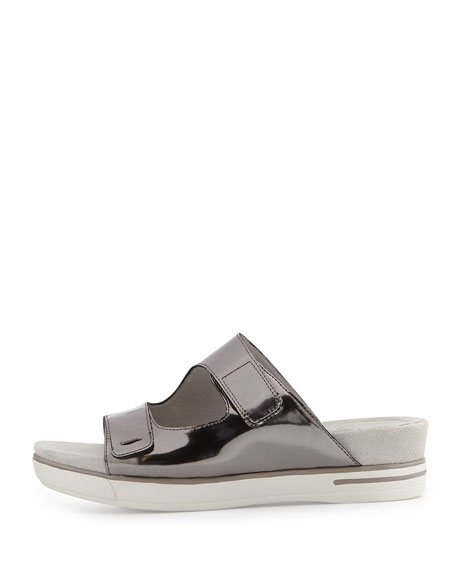 Magic Metallic Platform Sandal, Pewter