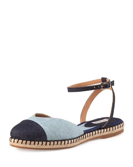 Tabitha Simmons Sebille Ankle-Wrap Espadrille Flat, Indigo/Denim