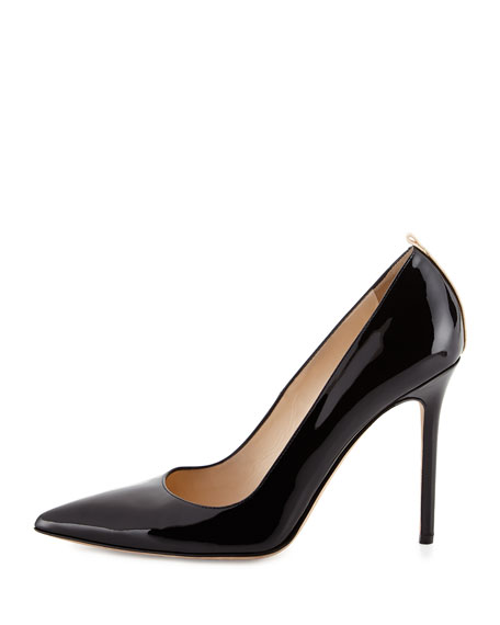 Fawn Patent Point-Toe Pump, Black