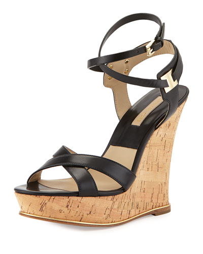 Shana Leather Wedge Sandal, Black