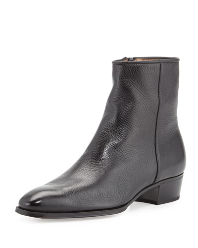 Leather Side-Zip Ankle Boot, Black