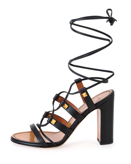 Valentino Rockstud High-Heel Gladiator Sandal, Black