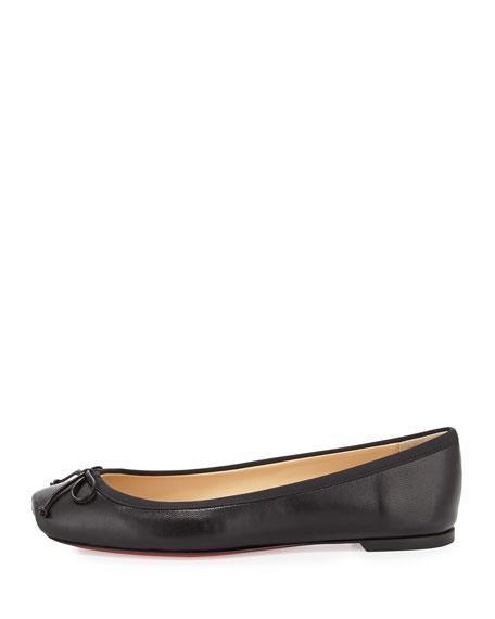 christian louboutin square-toe ballerina flat black
