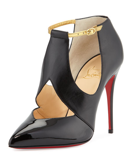 Cutout Leather Red Sole Pump, Black