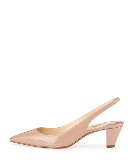 Christian Louboutin Karelli Slingback Red Sole Pump, Nude