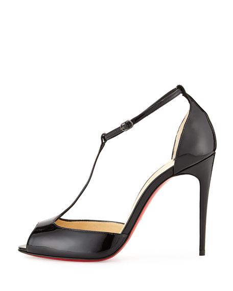 Senora Patent T-Strap Red Sole Sandal, Black