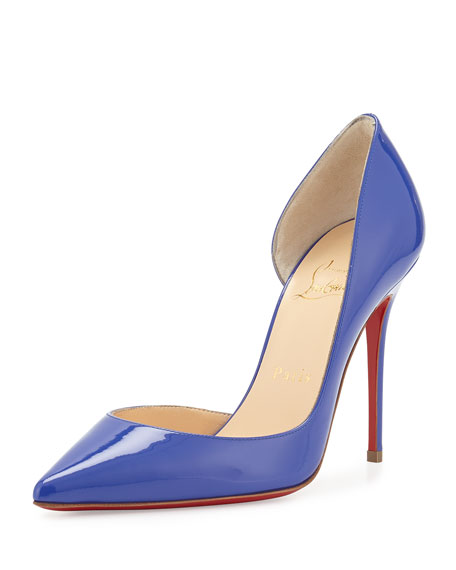 Christian Louboutin Patent Half d'Orsay Red Sole Pump, Purple