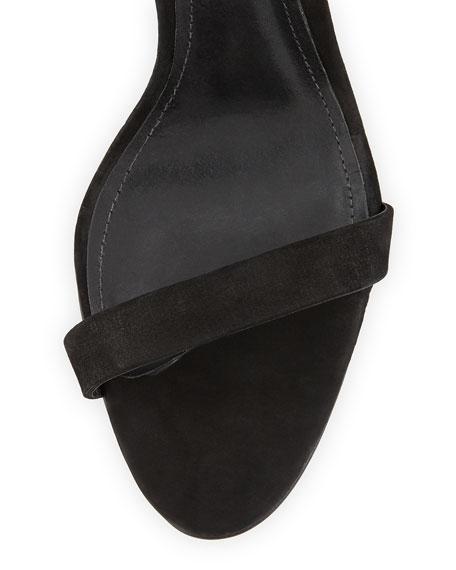 Dubia Suede Ankle-Wrap Sandal, Black