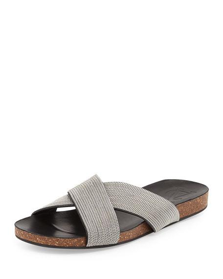 Saunders Cork Footbed Crisscross Sandal, Silver/Black