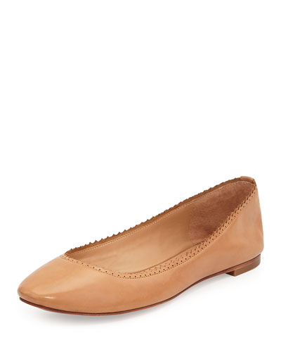 Alzey Pinked-Edge Ballerina Flat, Camel