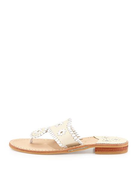 Palm Beach Whipstitch Thong Sandal, Bone/White